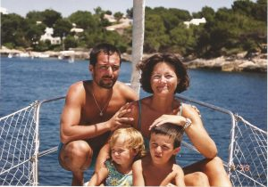 Family living on a sailboat.