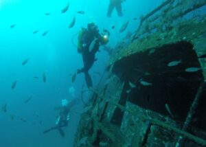 Diving a wreck in Thailand