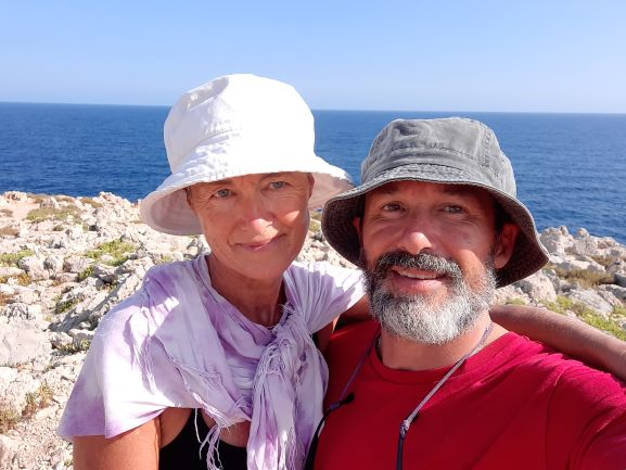 Me and my adventure buddy on the cami de Cavalls trail in Menorca